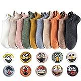 GEYIWSSXY 10 Paare Damen Socken Baumwolle Komfortabel Netter Cartoon Bestickte Lustig kurz Unisex Knöchel Socken
