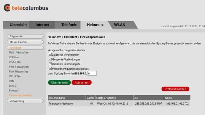 Telecolumbus Firewall Einstellungen