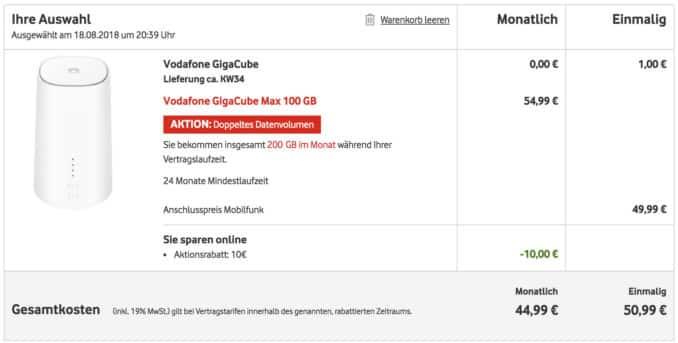 GIGACUBE Bestellung MAX 200GB