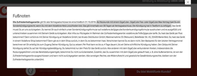 Sonderkündigung GIGACUBE Vodafone