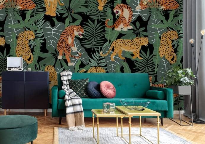 Exotische Fototapete mit Tieren im Wohnzimmer