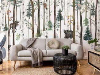 Fototapete Waldtiere im skandinavischen Wohnzimmer