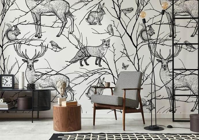 Minimalistisches Wohnzimmer mit Fototapete Waldtiere