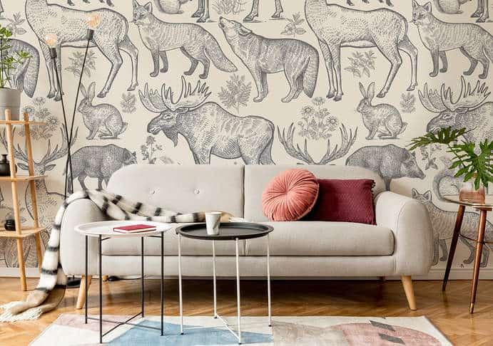 Monochromatische Fototapete Waldtiere im Wohnzimmer